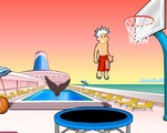 Shooting-game-with-a-trampoline-near-a-swimming-pool